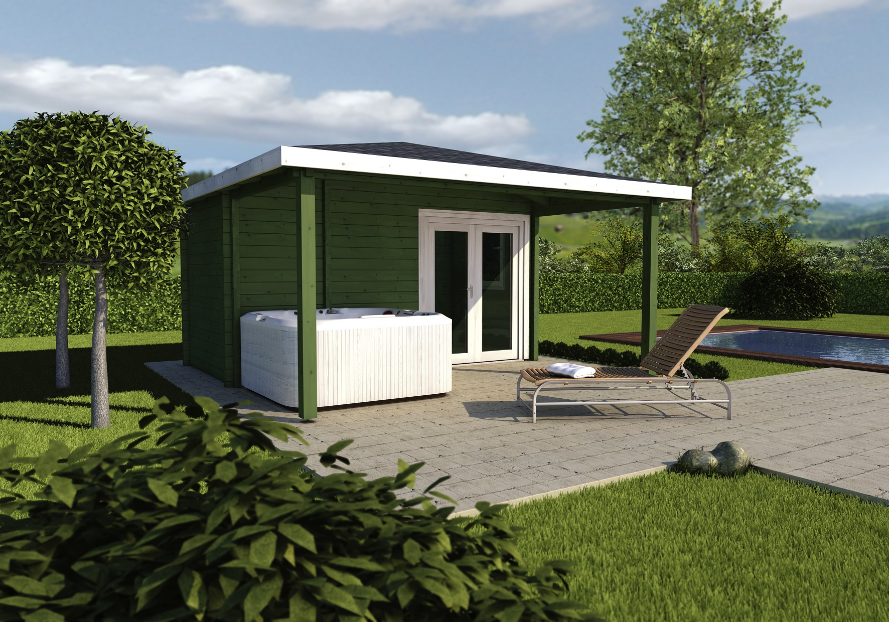 Wellness whirlpool sauna pool b der ausstellung m nster - Saunahaus mit whirlpool ...