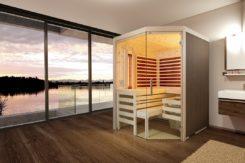 Sauna Aurora, 5 Eck Variante mit Glasfront