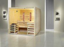 Saunaanlage, Modell Opal, in Fichtenholz oder in Espenholz möglich.